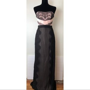 Ted Baker Pink Black Lace Strapless Evening Gown